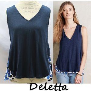 Anthro Blue Weekdays Polka Dot Blouse By Deletta